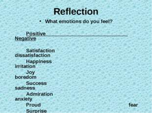 Reflection What emotions do you feel? Positive Negative Satisfaction dissatis