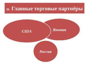 26. Главные торговые партнёры Япония США Россия