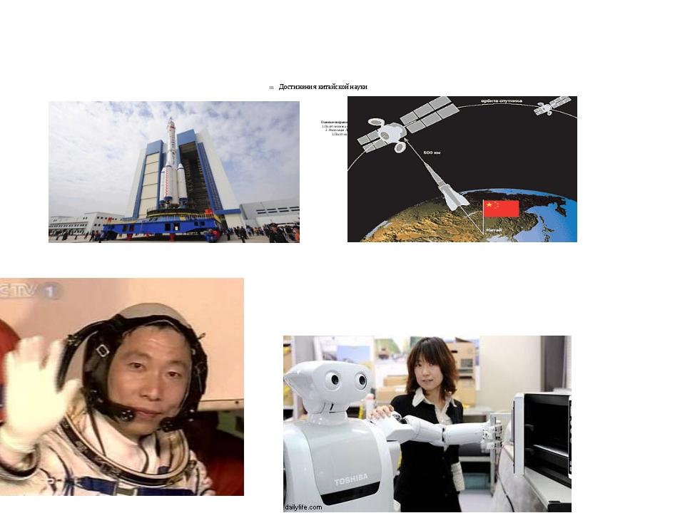 18. Достижения китайской науки Главные направления космической программы: 1....