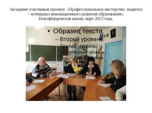Заседание участников проекта «Профессиональное мастерство педагога – потенциа