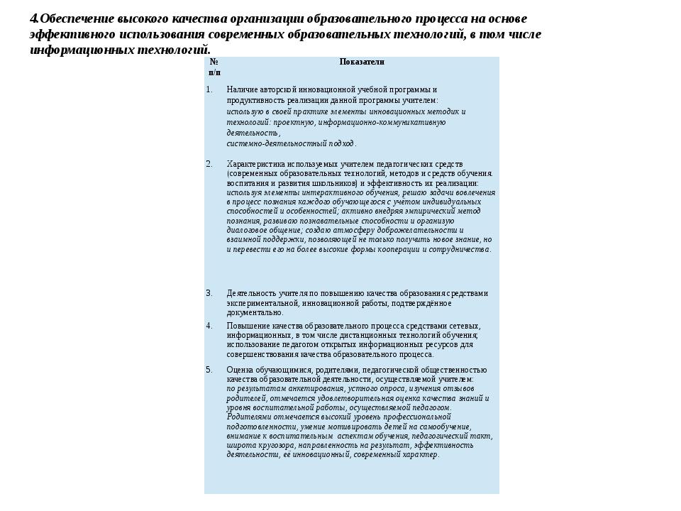 4.Обеспечение высокого качества организации образовательного процесса на осно...