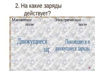 2. На какие заряды действует? Магнитное полеЭлектрическое поле