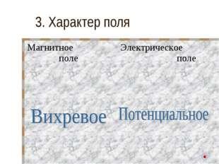 3. Характер поля Магнитное полеЭлектрическое поле