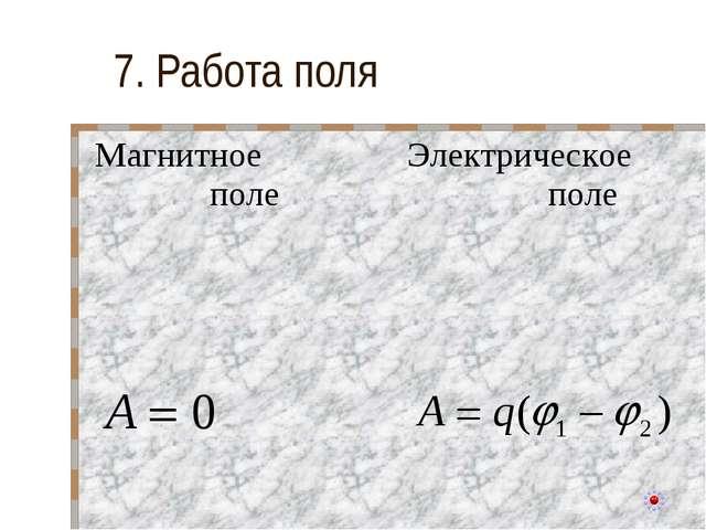 7. Работа поля Магнитное полеЭлектрическое поле