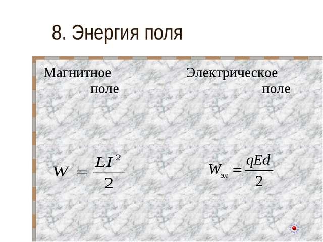 8. Энергия поля Магнитное полеЭлектрическое поле