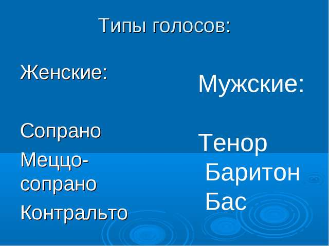 Типы голосов: Женские: Сопрано Меццо-сопрано Контральто Мужские: Тенор Барито...