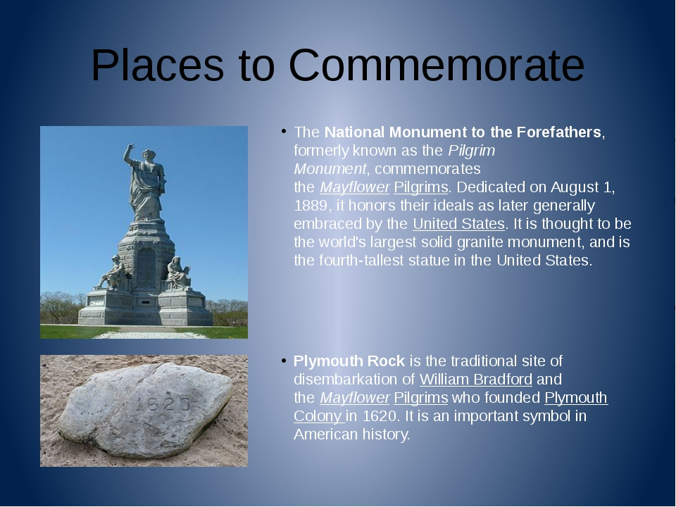 Places to Commemorate TheNational Monument to the Forefathers, formerly know...