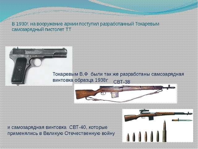 В 1930г. на вооружение армии поступил разработанный Токаревым самозарядный пи...
