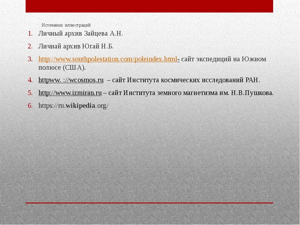 Источники иллюстраций: Личный архив Зайцева А.Н. Личнай архив Югай Н.Б. http:...