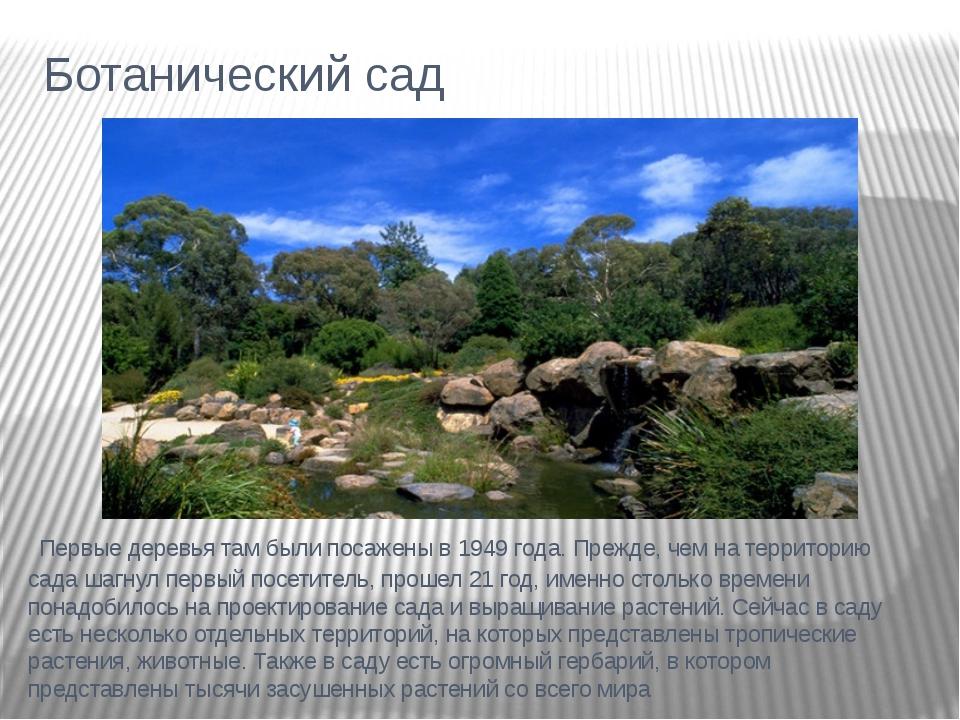 Ботанический сад Первые деревья там были посажены в 1949 года. Прежде, чем на...