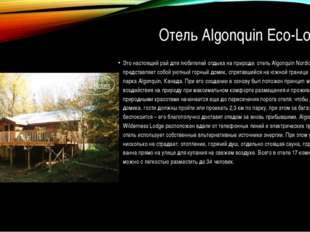 Отель Algonquin Eco-Lodge Это настоящий рай для любителей отдыха на природе: