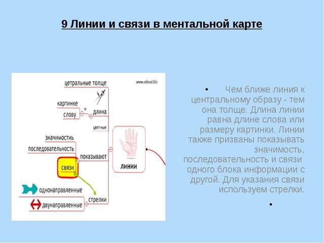 9 Линии и связи в ментальной карте Чем ближе линия к центральному образу - те...