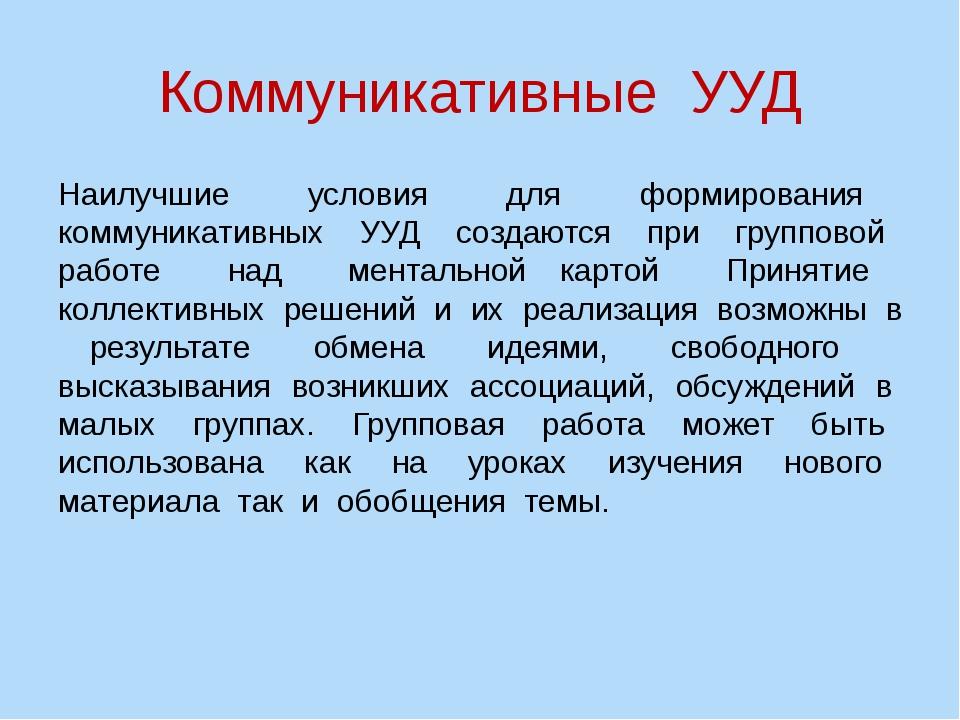 Коммуникативные УУД Наилучшие условия для формирования коммуникативных УУД со...