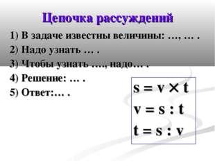 Цепочка рассуждений 1) В задаче известны величины: …, … . 2) Надо узнать … .