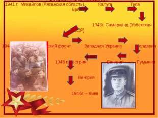 Боевой путь Макарова А.Г. 1941 г. Михайлов (Рязанская область) Калуга Тула Бр