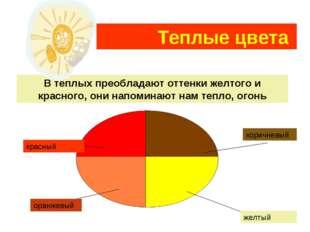 Теплые цвета В теплых преобладают оттенки желтого и красного, они напоминают