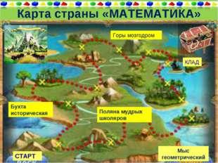 Карта страны «МАТЕМАТИКА» Мыс геометрический КЛАД СТАРТ Горы мозгодром Бухта