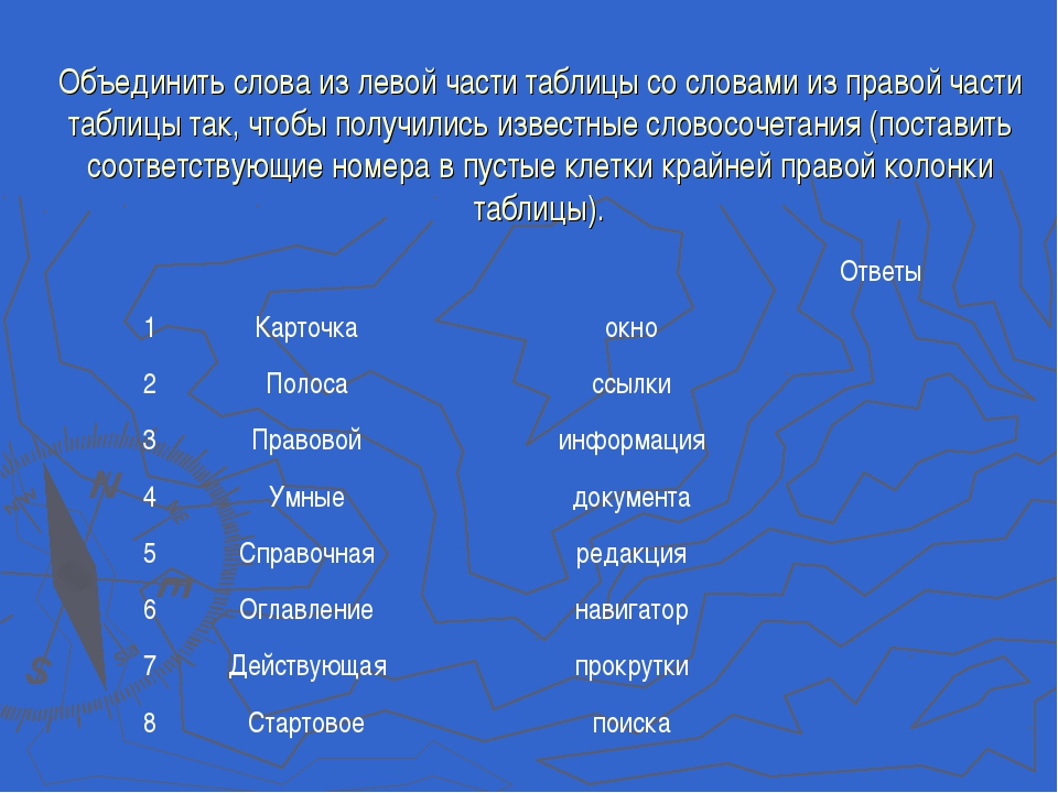 Объединить слова из левой части таблицы со словами из правой части таблицы та...