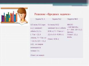 Решение «Вредных задачек» Задача № 1 Задача №2 Задача №3 0,5 моль О2( при н.