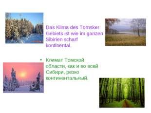 Das Klima des Tomsker Gebiets ist wie im ganzen Sibirien scharf kontinental.