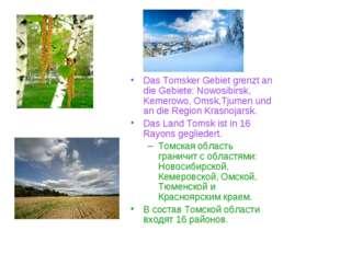 Das Tomsker Gebiet grenzt an die Gebiete: Nowosibirsk, Kemerowo, Omsk,Tjumen
