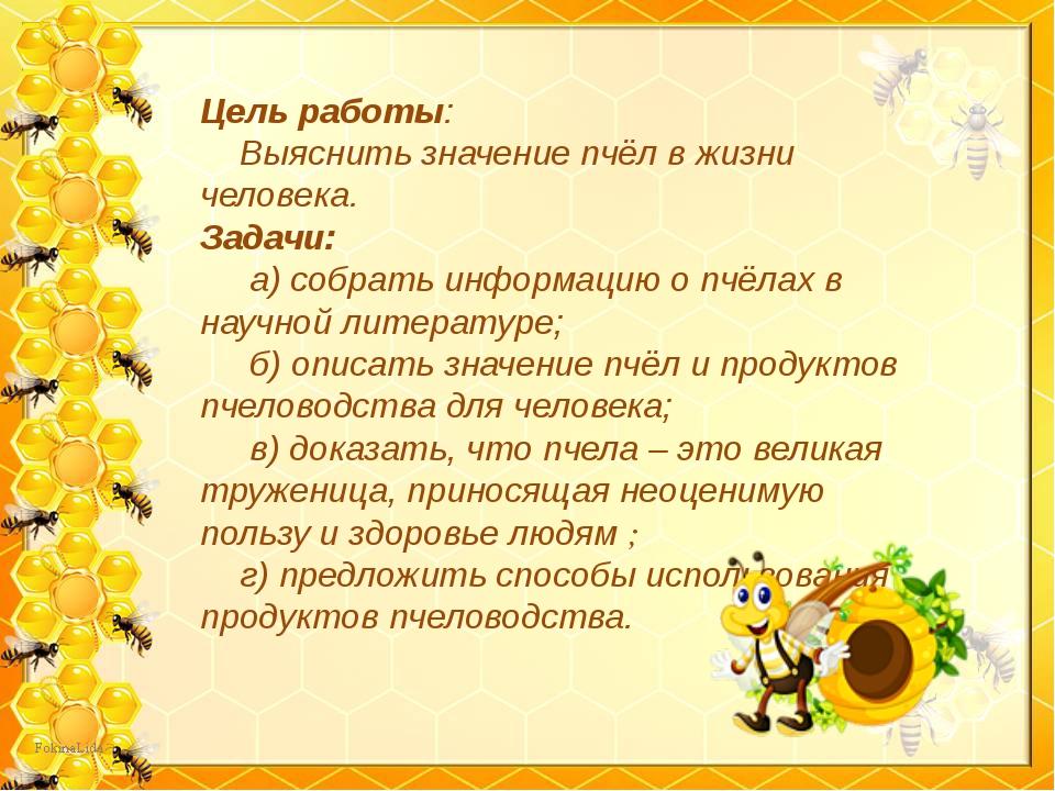 Цель работы: Выяснить значение пчёл в жизни человека. Задачи: а) собрать инфо...