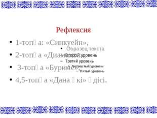 Рефлексия 1-топқа: «Синкуейн», 2-топқа «Диаманта», 3-топқа «Буриме», 4,5-топ