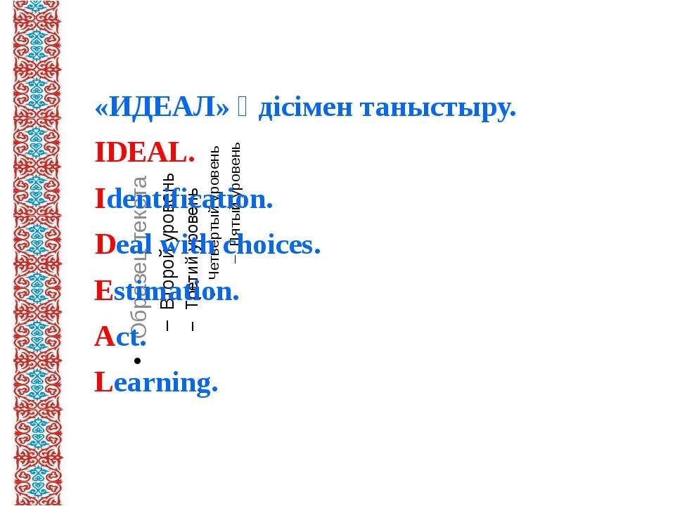 «ИДЕАЛ» әдісімен таныстыру. IDEAL. Identification. Deal with choices. Estima...