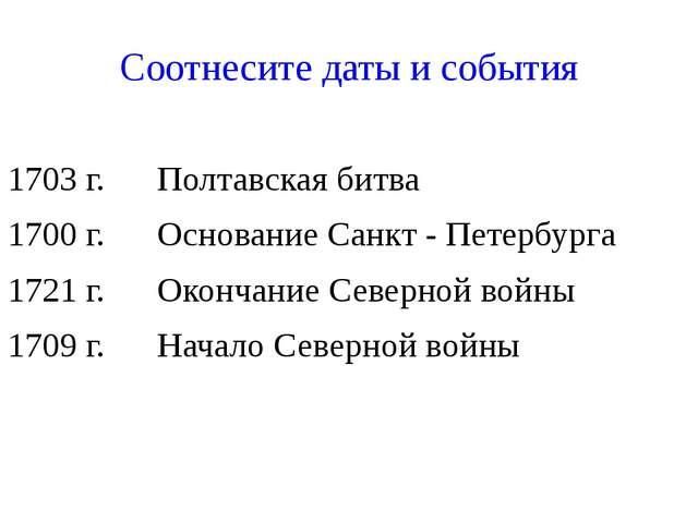 Соотнесите даты и события 1703 г. Полтавская битва 1700 г. Основание Санкт -...