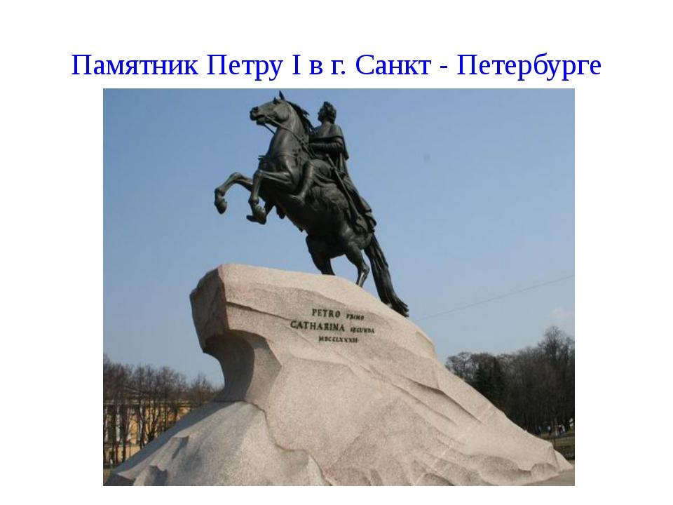 Памятник Петру I в г. Санкт - Петербурге