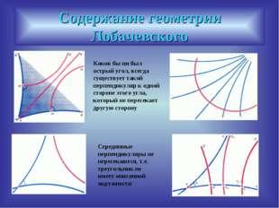 Содержание геометрии Лобачевского Каков бы ни был острый угол, всегда существ