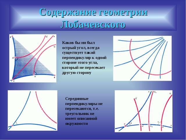Содержание геометрии Лобачевского Каков бы ни был острый угол, всегда существ...