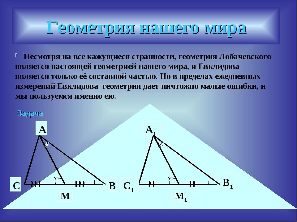 Геометрия нашего мира Несмотря на все кажущиеся странности, геометрия Лобачев...