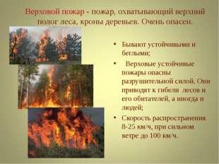 Верховой пожар - пожар, охватывающий верхний полог леса, кроны деревьев. Оче
