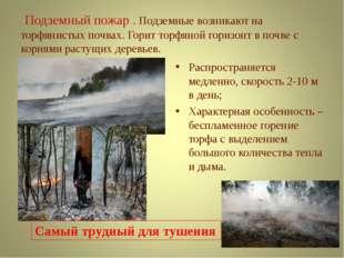 Подземный пожар . Подземные возникают на торфянистых почвах. Горит торфяной