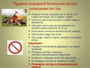 Правила пожарной безопасности при разведении костра Найдите поляну, защищенну