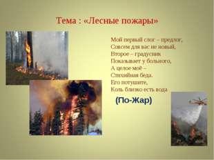 Тема : «Лесные пожары» Мой первый слог – предлог, Совсем для вас не новый, Вт