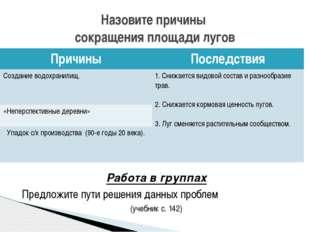 Работа в группах Предложите пути решения данных проблем (учебник с. 142) Наз