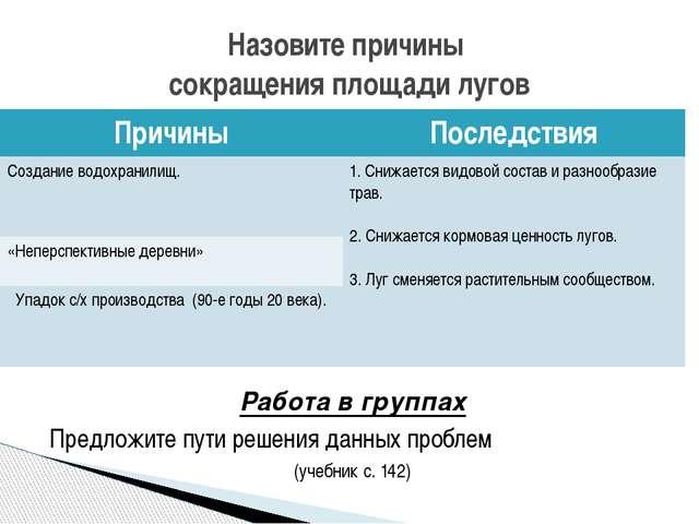 Работа в группах Предложите пути решения данных проблем (учебник с. 142) Наз...