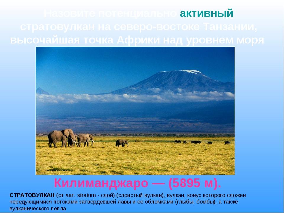Килиманджаро — (5895 м). Назовите потенциально активный стратовулкан на север...