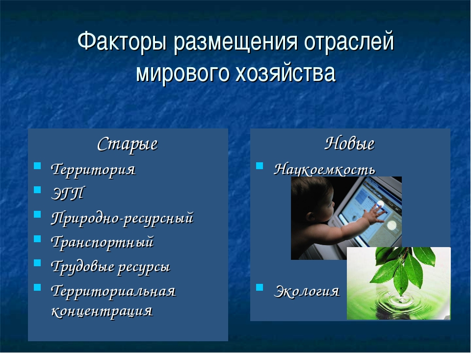 Факторы размещения отраслей мирового хозяйства Старые Территория ЭГП Природно...