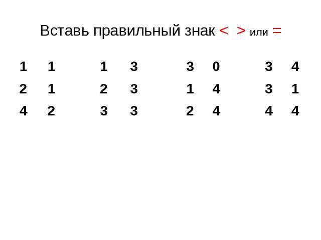 Вставь правильный знак < > или = 1 1 3 3 0 3 4 1 2 3 1 4 3 1 2 3 3 2 4 4 4