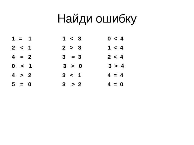 Найди ошибку = 1 1 < 3 0 < 4 < 1 2 > 3 1 < 4 = 2 3 = 3 2 < 4 0 < 1 3 > 0 3 >...