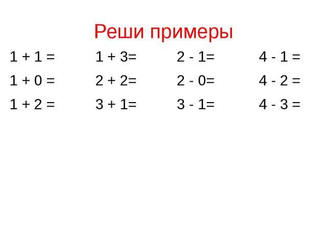 Реши примеры 1 + 1 = 1 + 3= 2 - 1= 4 - 1 = 1 + 0 = 2 + 2= 2 - 0= 4 - 2 = 1 +...