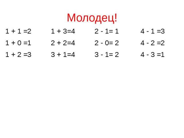 Молодец! 1 + 1 =2 1 + 3=4 2 - 1= 1 4 - 1 =3 1 + 0 =1 2 + 2=4 2 - 0= 2 4 - 2 =...