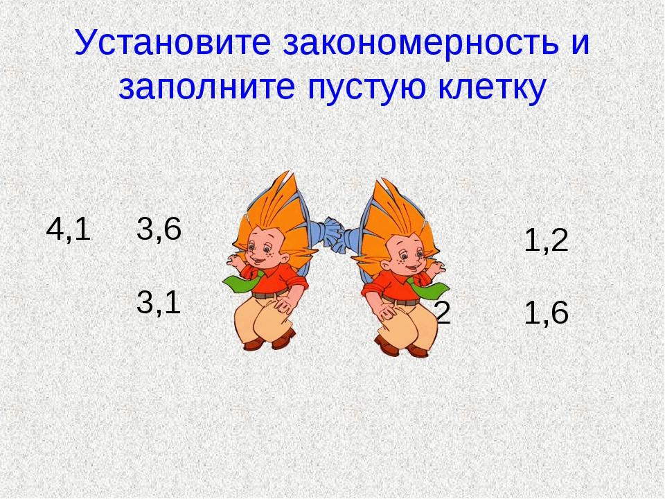 Установите закономерность и заполните пустую клетку 4,13,6 3,1 1,2 21,6