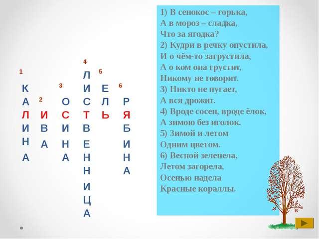 1) В сенокос – горька, А в мороз – сладка, Что за ягодка? 2) Кудри в речку оп...