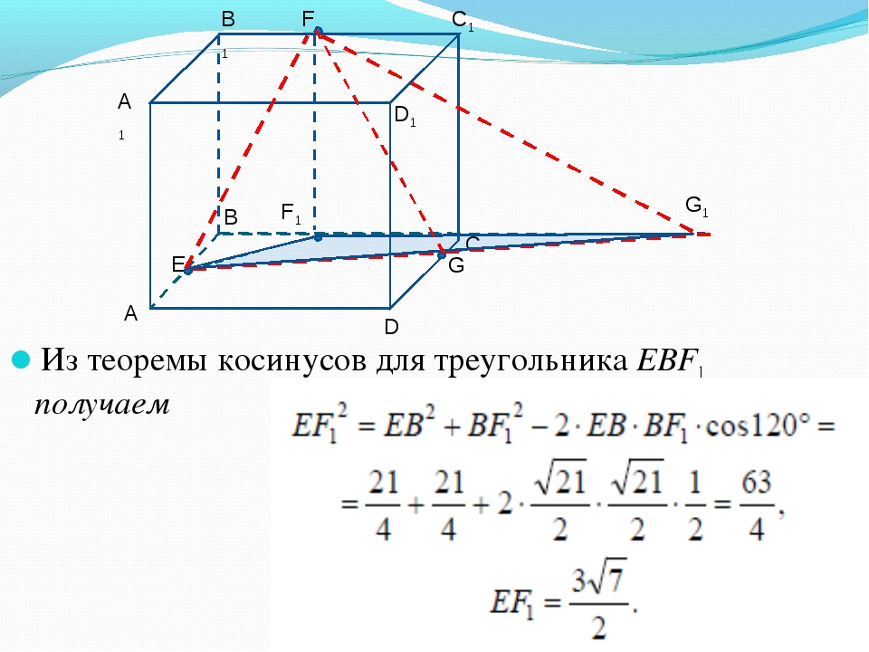 Из теоремы косинусов для треугольника EBF1 получаем