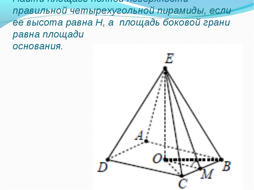 Найти площадь полной поверхности правильной четырехугольной пирамиды, если ее...