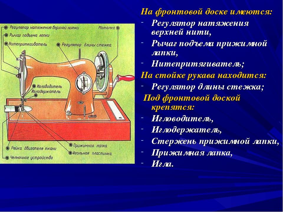 На фронтовой доске имеются: Регулятор натяжения верхней нити, Рычаг подъема п...